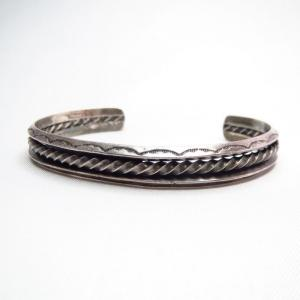 Antique 【IH】 CoinSilver Triangle&Twistedwire Bracelet c.1930