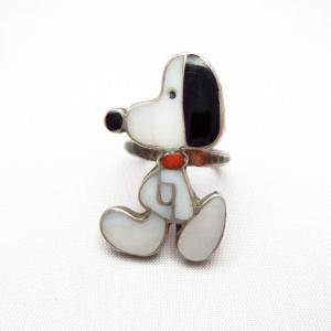 Zuni Vintage Channel Inlay Snoopy Silver Ring  c.1960~