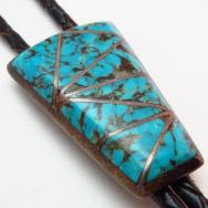 Vintage Zuni Inley Turquoise Bolo c.1960