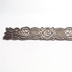 Antique 卍 Stamped Silver Pin or Collar Ornament  c.1920~