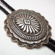 Vintage Stamped Silver Concho Bolo  c.1970~