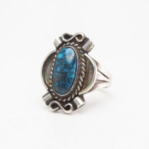 Atq Navajo Top Grade Lone Mt. Turquoise Small Ring  c.1940~