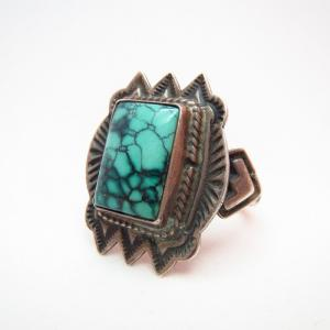 Vintage Square Turquoise Concho Ring c.1950