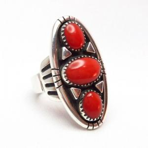 Julian Lovato Oval Shape Silver Ring w/High-Grade Coral