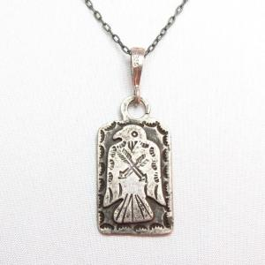 Antique Thunderbird Patched Tag Pendant Necklace  c.1930