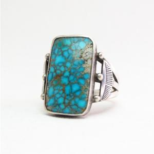 Antique Navajo Ring w/Rectangular Lone Mt. Turquoise c.1940~