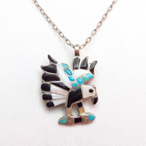 Vintage Zuni Channel Inlay Eagle Fob Necklace & Pin  c.1960~