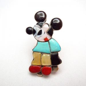 Zuni Vintage MP Channel Inlay Mickey Ring  c.1970