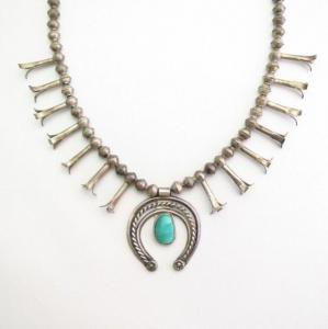 Antique Navajo Samll Squash Blossom Naja Necklace  c.1950