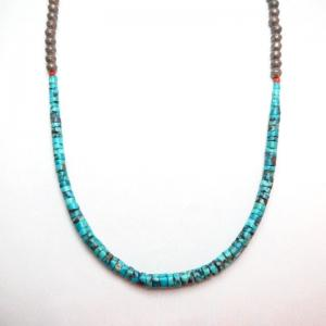 Vintage Natural Turquoise Disc Beads Heishi Necklace  c.1950
