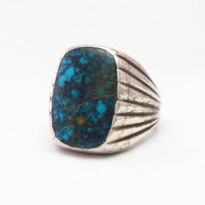 Vtg Cast Silver Men's Ring w/Spider Web Turquoise  c.1965~