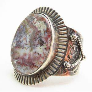 Antique 卍 Stamped Wide Cuff Bracelet w/PetrifiedWood c.1920~