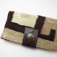 Leather Wallet with 1920's Navajo Rug & Concho