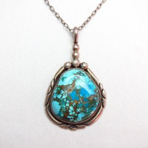 OLDPAWN Gem Grade Easter Blue Turquoise Fob Necklace c.1970~