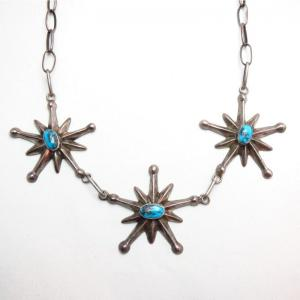 Vintage 3 Cast Star Necklace w/Bisbee Turquoise  c.1950