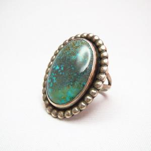 Vintage Silver Ring w/High Grade #8 Turquoise  c.1960