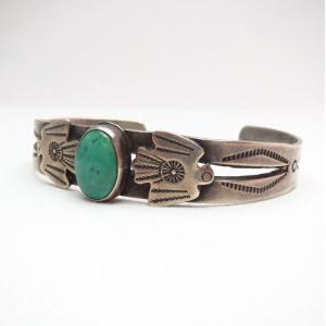 Antique Two Thunderbird Patched Small Cuff Bracelet  c.1930