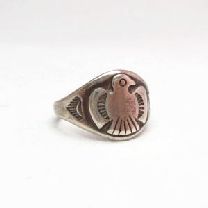 Vintage 【Bell】 Thunderbird Patched Silver Ring  c.1950~