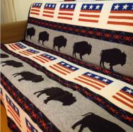 PENDLETON Buffalo & USA Flag Indian Blanket Used