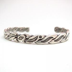 Antique Multi Stamped Twisted Silver Cuff Bracelet  c.1930