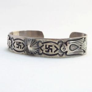 Antique 卍 Stamped & Thunderbird Patched Cuff Bracelet c.1930