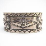 Antique 卍 Stamped & Repoused Wide Cuff Bracelet  c.1930