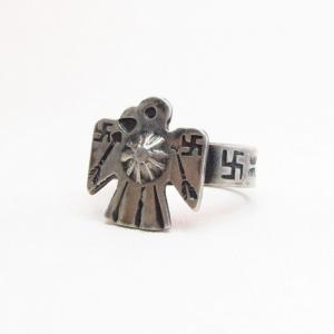 Antique 卍 Stamped Thunderbird Shape Silver Ring  c.1925~