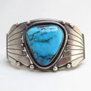 Fred Thompson Navajo Wide Cuff Bracelet w/Kingman TQ c.1970~