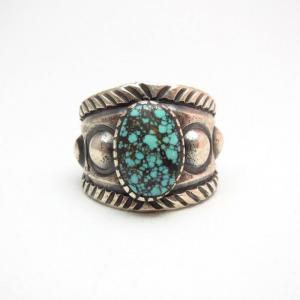 Chris Billie Tufa Cast Stamped Silver Ring w/Turquoise JP25