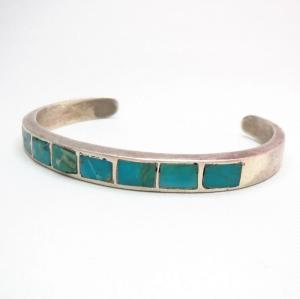 Vintage Zuni Turquoise Inlay Silver Cuff  c.1960~