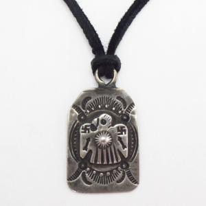 Antique 卍 Stamped Thunderbird Tag Pendant Necklace  c.1920~