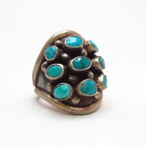 Vintage Silver with 9 Turquoise Ring  c.1970