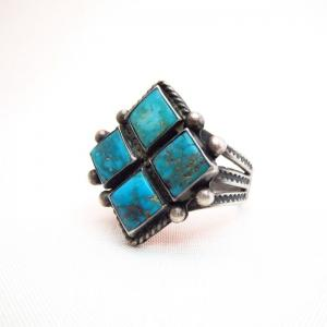 Antique Tourist Ring w/Four Diamond Shape Gem TQ  c.1930~