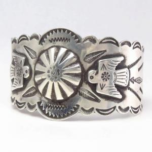 Antique Repoused & Thunderbird Applique Wide Cuff  c.1935~