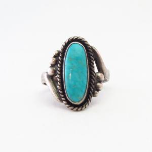 Vintage 【BELL TRADING POST】 Silver Women's Ring w/TQ c.1940~