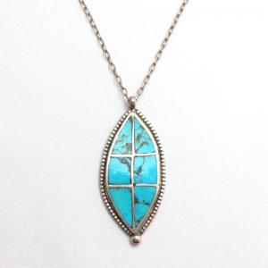 Vintage Zuni Channel Inlay Leaf Shape Fob Necklace  c.1960