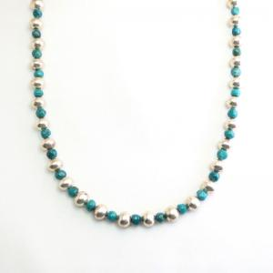 Vintage Navajo Pearl & Turquoise Bead Necklace  c.1965~