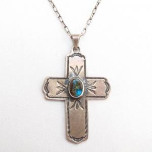 Al Somers Stamped Ingot Silver Cross Fob w/BisbeeTQ Necklace