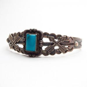Antique Crossed Arrows Patched Cuff Bracelet w/TQ  c.1940~