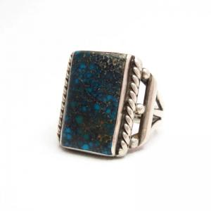Vintage Square High Grade Lone Mt. Turquoise Ring  c.1940