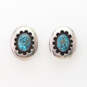 Vtg Navajo Clip On Earrings w/High Grade #8 Turquoise c.1960