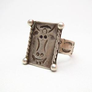 Vintage Cow Stamped Square Face Silver Ring  c.1950