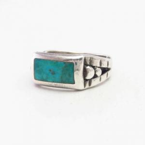 Vintage Navajo or Pueblo Turquoise Inlay Men's Ring  c.1945~