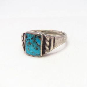 Vtg Navajo Square Turquoise Inlay Men's Silver Ring  c.1950~