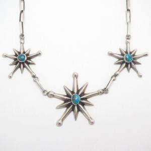 Vintage Navajo Three Cast Star Necklace w/Turquoise  c.1950