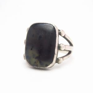 Vintage Navajo Men's Silver Ring w/Black Agate  c.1955~