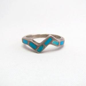 Vintage Zuni Turquoise Inlay Silver Zig Zag Ring  c.1960~