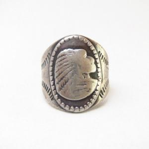 Antique Indian Head Patched Silver Cigar Band Ring c.1920~