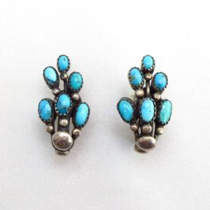 Vintage Turquoise Clip On Earrings Frank Patania?  c.1950