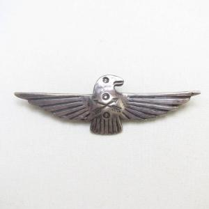 Antique CrossedArrows Stamped Thunderbird Silver Pin c.1930~